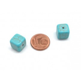 Perle cube 10mm bleu turquoise howlite