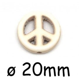 "Perle Peace and Love 20mm synthétique imitation turquoise ""Howlite"" beige blanc naturel"
