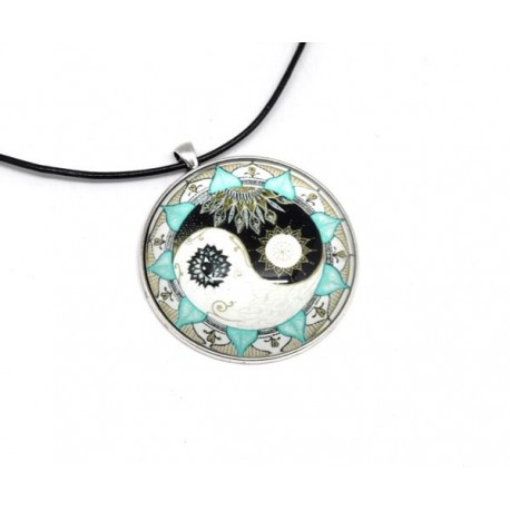 KIT collier sautoir grand cabochon rond motif peace and love