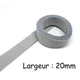 Ruban gros grain tradition gris perle 20mm en coton