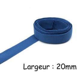 Ruban gros grain tradition bleu jean 20mm en coton