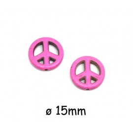 """Perle Peace and Love 15mm rose fuchsia en pierre synthétique style """"Howlite"""""""
