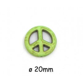 """Perle Peace and Love vert amande 20mm style """"Howlite"""""""