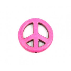 "Perle Peace and Love rose 25mm imitation turquoise ""Howlite"""