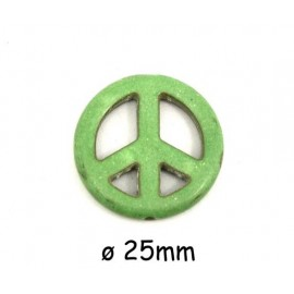 "Perle Peace and Love 25mm vert amande style pierre ""Howlite"""