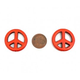 "Perle Peace and Love 25mm orange imitation turquoise ""Howlite"""