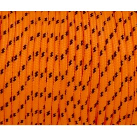 paracorde 3mm orange fluo et noir cordon nylon tressé bicolore