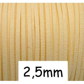 Cordon plat 2,5mm beige coquille d'oeuf