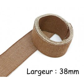 Ruban gros grain chambray 38mm marron et beige en lin et viscose